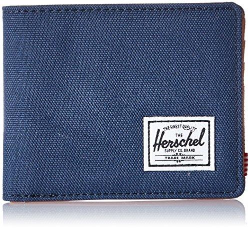 Herschel unisex adult Hank Rfid Bi Fold Wallet, Navy/Tan Synthetic Leather, One Size US
