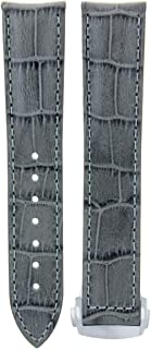 22MM LEATHER WATCH BAND STRAP CLASP FOR 45.5MM OMEGA SEAMASTER PLANET OCEAN GREY