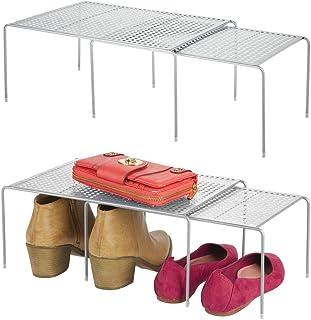 mDesign meuble de rangement pour armoire (lot de 4) – étagère empilable en métal pour t-shirt, pantalons, pullover, etc. –...