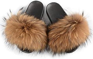 Fluffy Fur Slides Mixed Color Sandals Fashionable Summber Beach Flat Slider66047