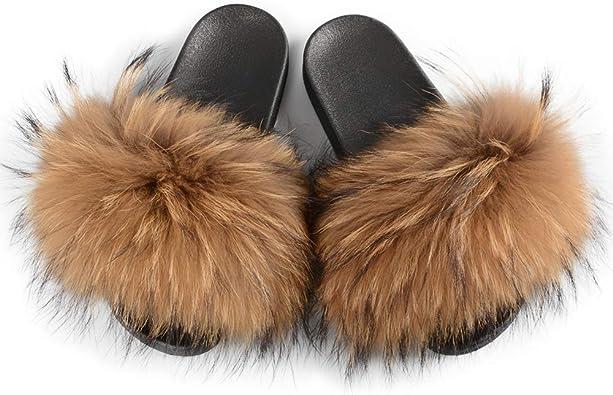 Amazon.com | Jancoco Max Womens Luxury Real Raccoon Fur Slides Slippers  Furry Sliders Fashion Flat Soles Soft Summer Flip Flop Sandals | Slippers