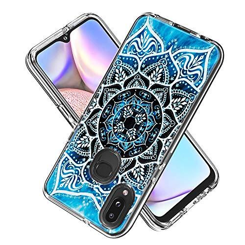 Miagon 2 in 1 Hart PC und Weich TPU Innere Durchsichtig Klar Hülle für Samsung Galaxy A10S,Bunt Muster Anti Gelb Stoßfest Handyhülle Schutzhülle Bumper Case,Mandala Blume