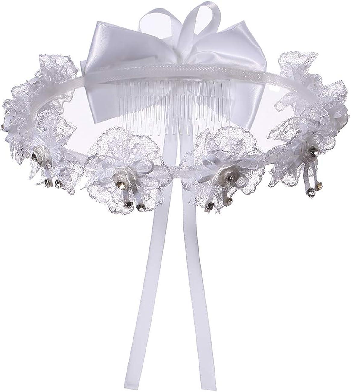 Colorful House Girls White First Communion Veil, Flower Girl Wedding Crown Headpiece