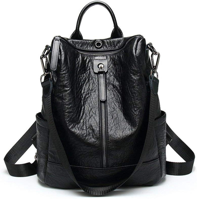 Crystallly Handtasche Multifunktionale Rucksack Female Fashion Soft Leder Rucksack Casual Reisetasche Einfacher Stil Schüler Schultasche, (Farbe   Schwarz, Größe   One Größe)