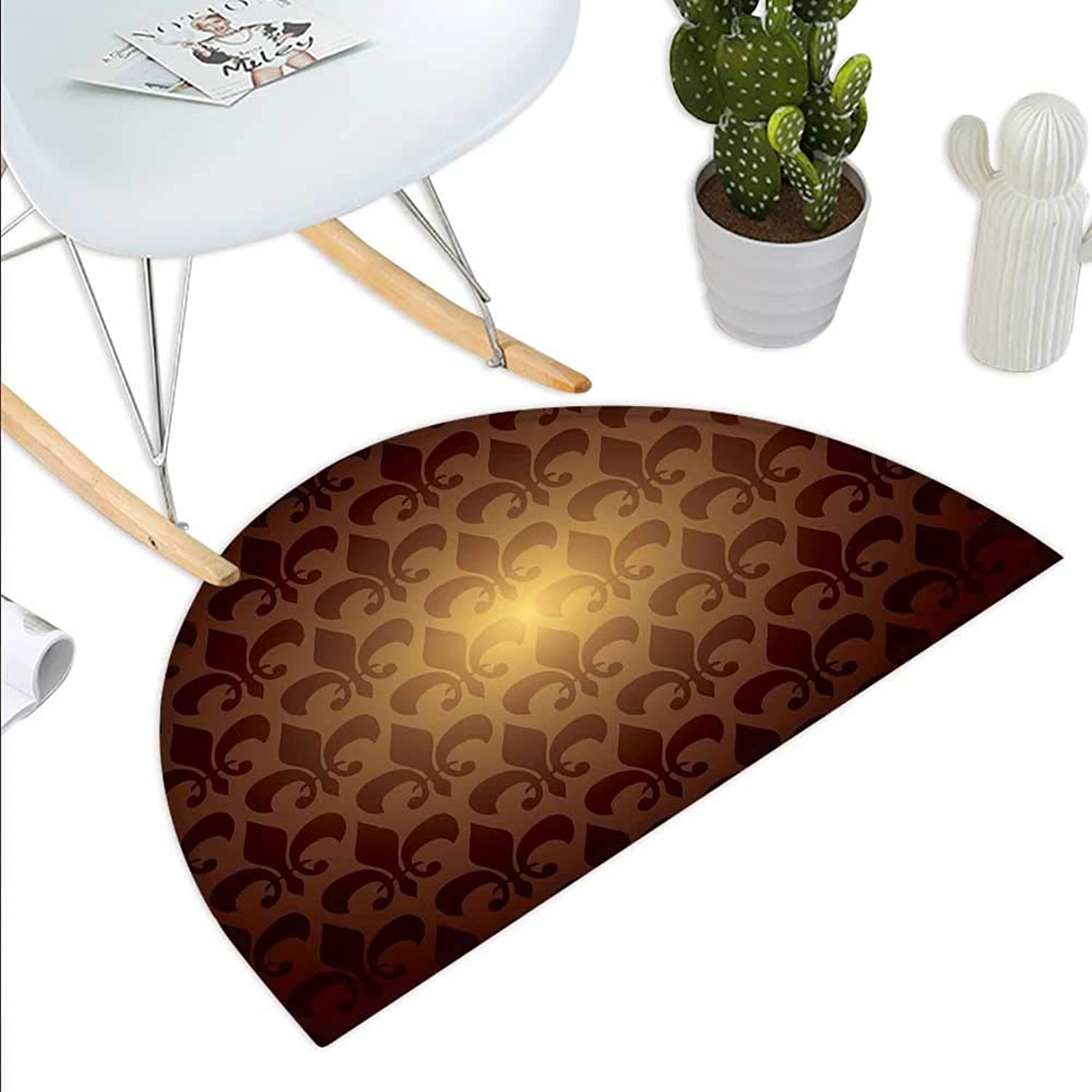 Fleur De Lis Semicircle Doormat Royal Lily Flower Inspired Floral Baroque Style Dark Pattern Modern Style Artwork Halfmoon doormats H 39.3  xD 59  Brown