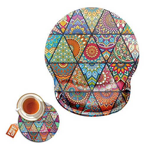 Mouse Pad with Wrist Support Gel Ergonomic Gaming Mousepad with Wrist Rest for Laptop Colorful Diamond Computer Home Office Working Mouse Mat + A Cute Coffee Pad