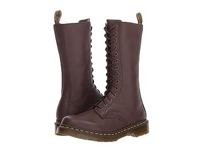 Dr. Martens 1B99 14-Eye Zip Boot (Dark Brown Virginia) Women