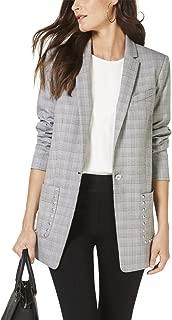 Womens Studded Plaid One-Button Blazer