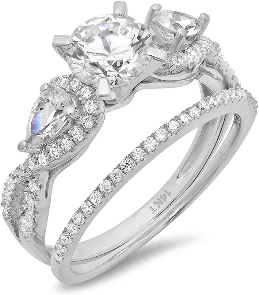 Clara Pucci 1.9 CT Round And Pear Cut Pave Halo Bridal Engagement Wedding Ring band set 14k White Gold