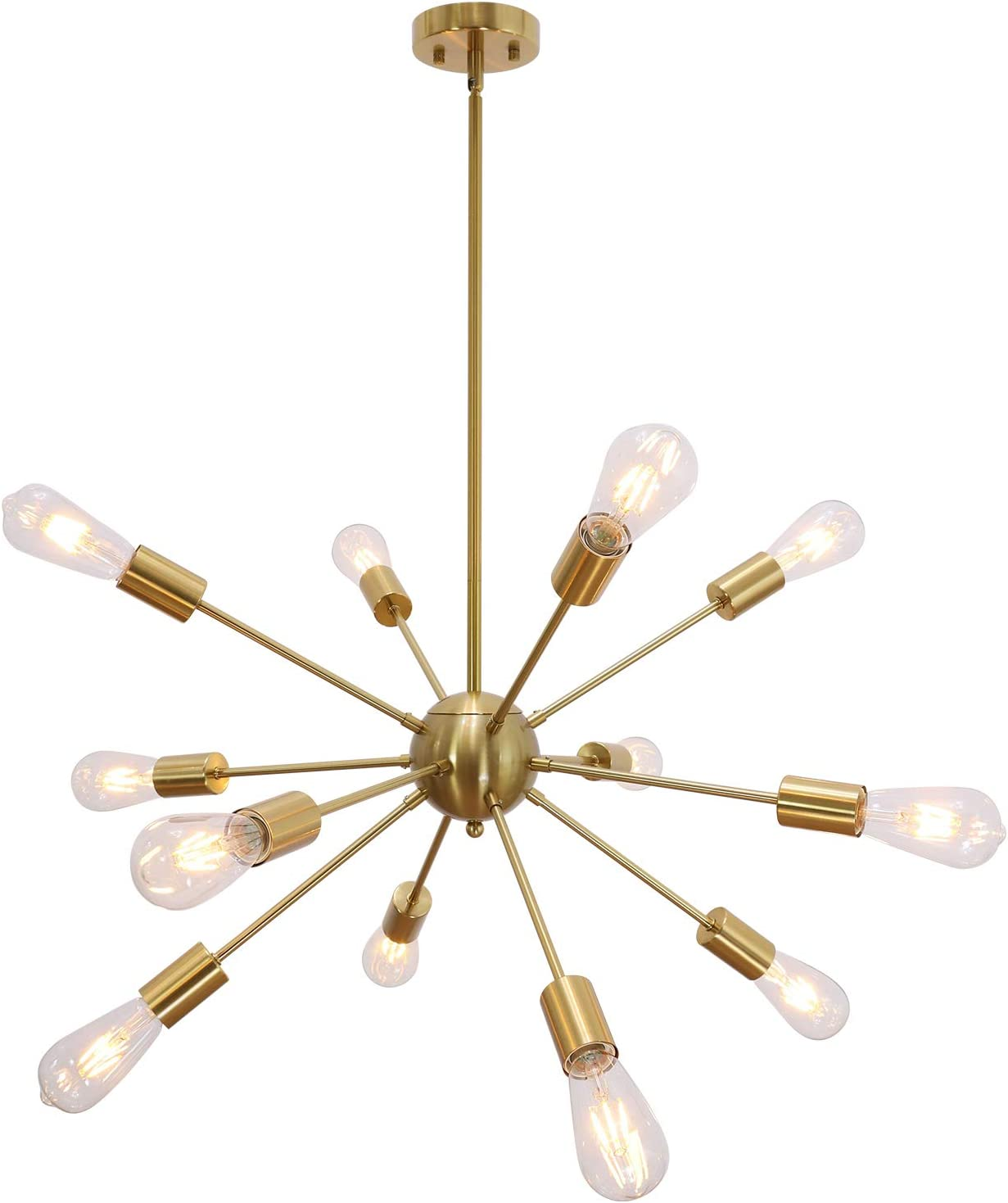 VINLUZ Modern Sputnik Chandelier 12 Light Brushed Brass Mid Century Pendant Lighting Rustic Ceiling Lights Fixtures for Dinning Room Kitchen Foyer