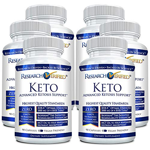 Research Verified Keto - Vegan Keto Supplement with 4 Exogenous Ketone Salts (Calcium, Sodium, Magnesium and Potassium) and MCT Oil to Boost Energy, Weight Loss and Focus in Ketosis - 6 Bottles 4