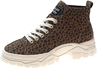Qootent New Women Casual Shoes Leopard-Printed Muffin Platform Cross-tied Shoes
