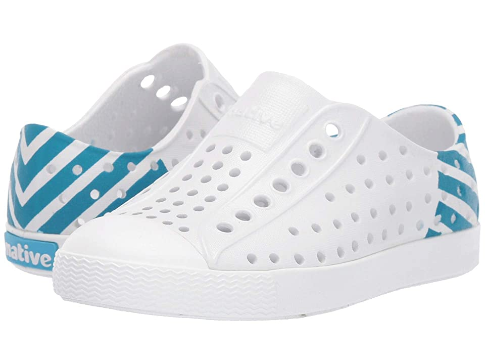 Native Kids Shoes Jefferson Glow Block (Toddler/Little Kid) (Shell White/Shell White/Ultra Blue Glow) Kids Shoes