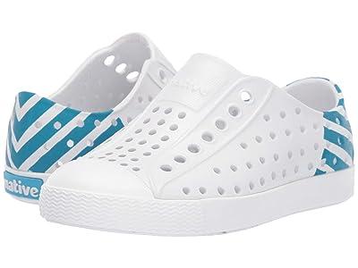 Native Kids Shoes Jefferson Glow Block (Toddler/Little Kid) (Shell White/Shell White/Ultra Blue Glow) Kids Shoes