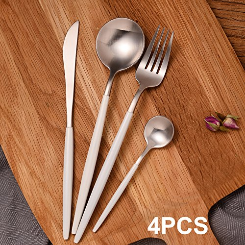 Elome Flatware Set, Stainless Steel Cutlery, Vintage Design Cutlery for Home Kitchen Restaurant Hotel White & Silver in Gift Box, 4PCS