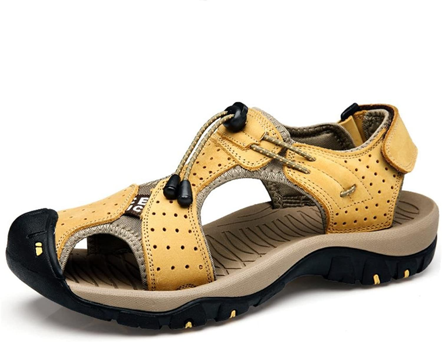 Brandon Christie Beach Leather Sandals for Men Package toe Soft Thick Non-slip Sole Velcro Durable Breathable Summer Sport Wading shoes