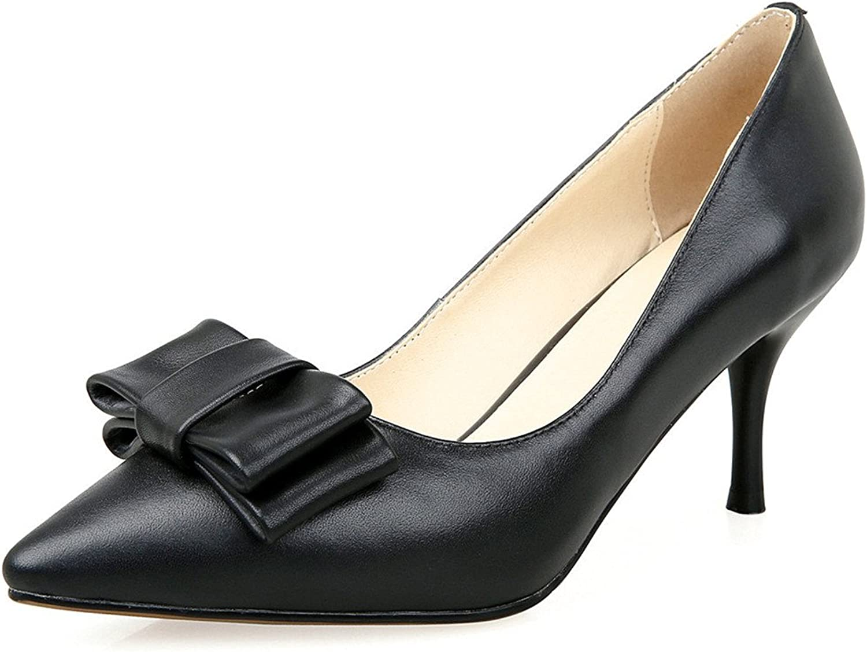 Nine Seven Genuine Leather Women's Pointed Toe Stiletto Heel Bowknot Handmade Pump