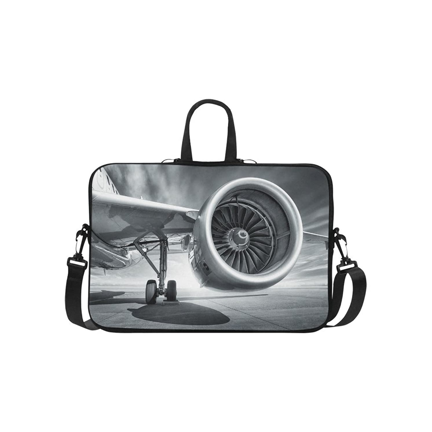 InterestPrint Cool Jet Engine Airplane Theme 15 15.6 Inch Notebook Computer Sleeve Shoulder Bag Neoprene Protective Case with Handle & Strap for MacBook Dell HP Woman Man