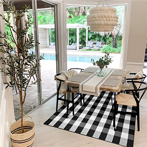 Buffalo Plaid Rug 5' x 7' Buffalo Check Rug Cotton Black and White Washable Retro Lattice Checkered Outdoor Rug Carpet for Farmhouse Living Room/Dining Room/Bedroom