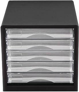 HongLianRiven Armoires de classement Noir en Plastique -27.7 * 25.9 * 34.4cm de Meuble de Rangement de Bureau en Plastique...