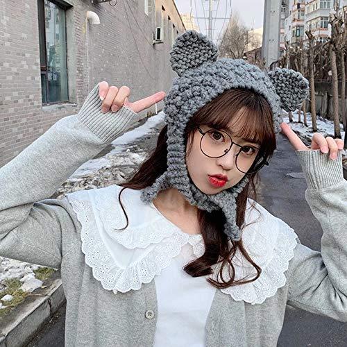 Invierno Skullies Mujer Rana Sombrero Crochet Sombrero de Punto Disfraz Beanie Sombreros Gorra Mujer Regalo Beb Anime Sombrero Fotografa Prop Fiesta-Grey-OneSize(56-58cm)