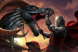 The Dragon Slayer Knight Tom Wood Fantasy Art Cool Wall Decor Art Print Poster 12x18