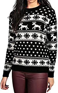 WUAI Women's Ugly Christmas Sweater Ladies Patterns Reindeer Snowman Tree Snowflakes Knit Sweater Pullover Tops