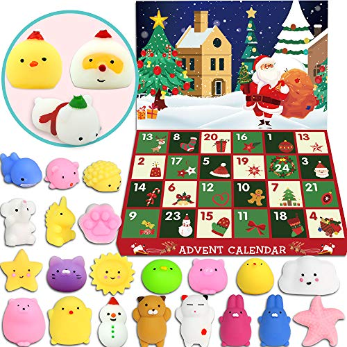 BUDI Advent Calendar 2019 Xmas Mochi Squishies for Kids and Adults Animal Squishies Surprise Xmas Presents Count Down To Xmas 24 Pcs