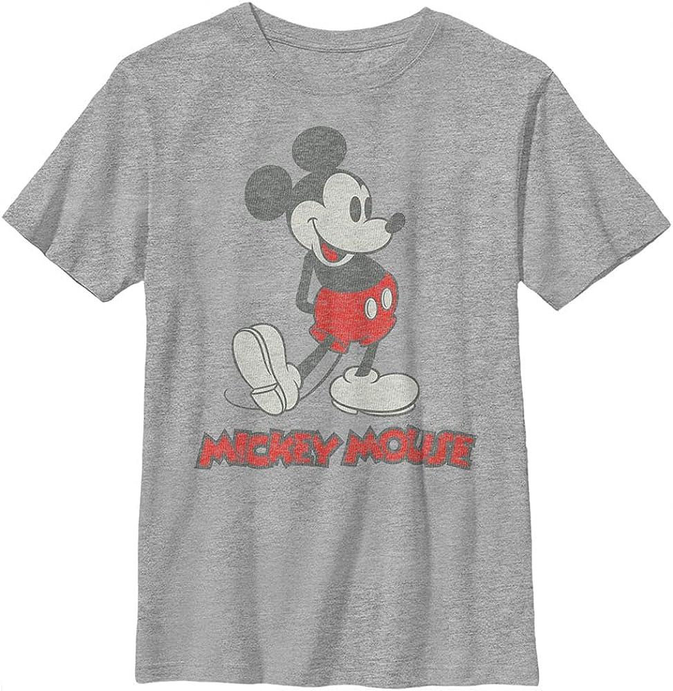 Disney Characters Vintage Mickey Boy's Heather Crew Tee