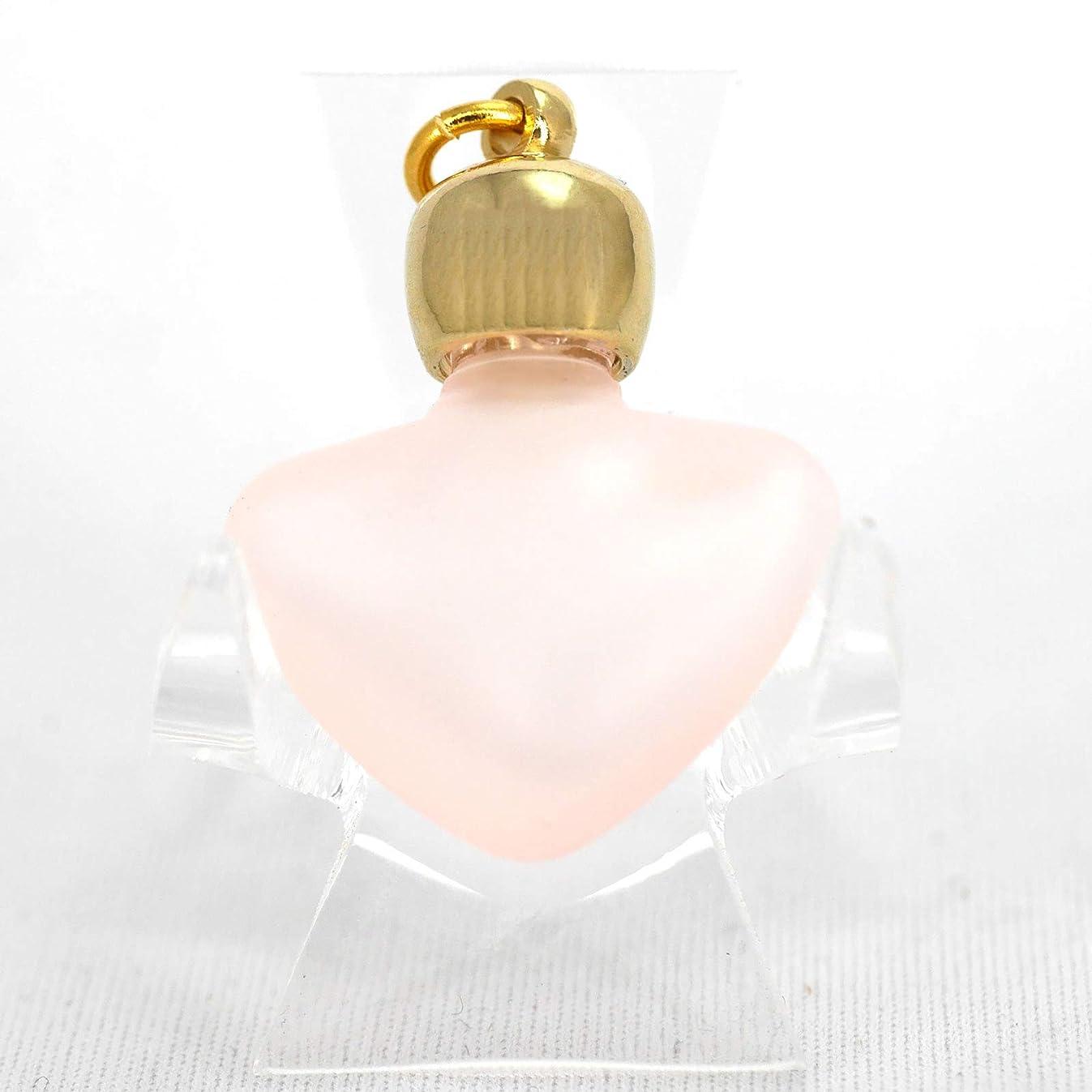 ミニ香水瓶 アロマペンダントトップ ハートピンクフロスト(ピンクすりガラス)0.8ml?ゴールド?穴あきキャップ、パッキン付属【アロマオイル?メモリーオイル入れにオススメ】