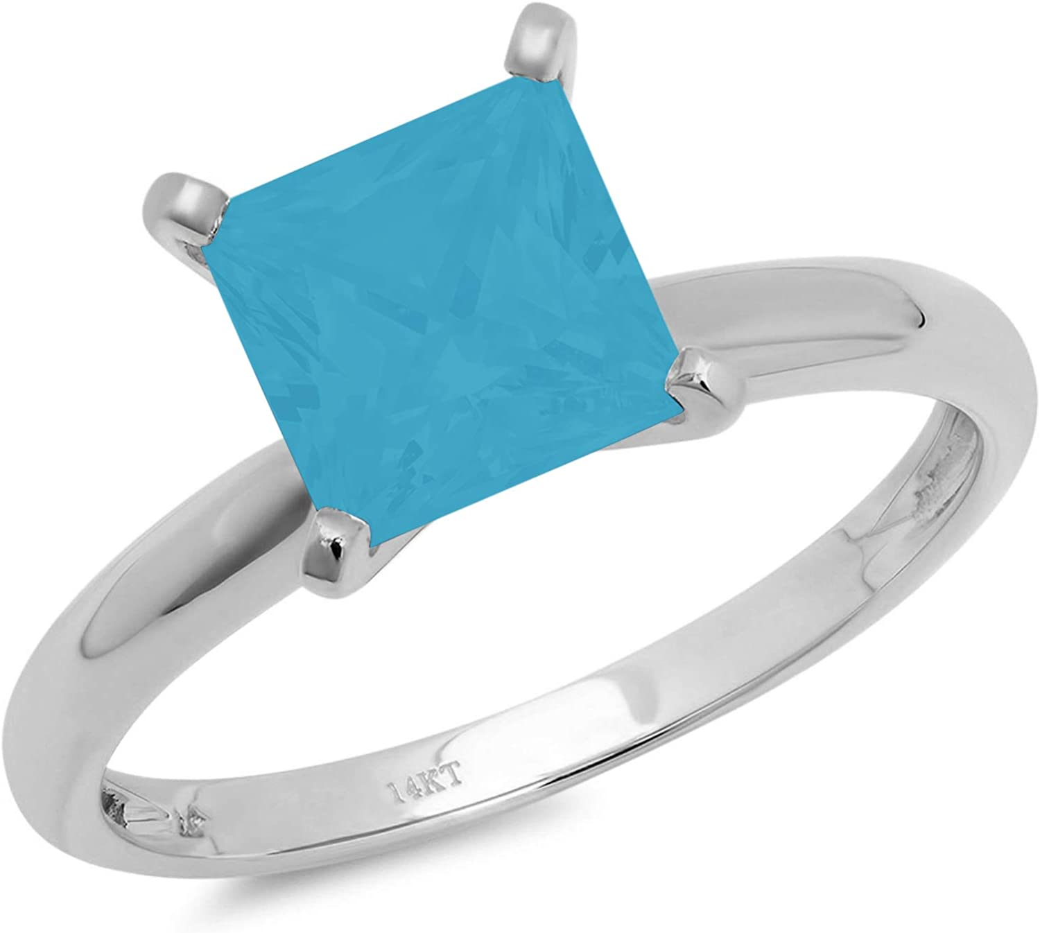 0.9ct Brilliant Princess Cut Solitaire Flawless Simulated Cubic Zirconia Blue Turquoise Ideal 4-Prong Engagement Wedding Bridal Promise Anniversary Designer Ring Solid 14k White Gold for Women