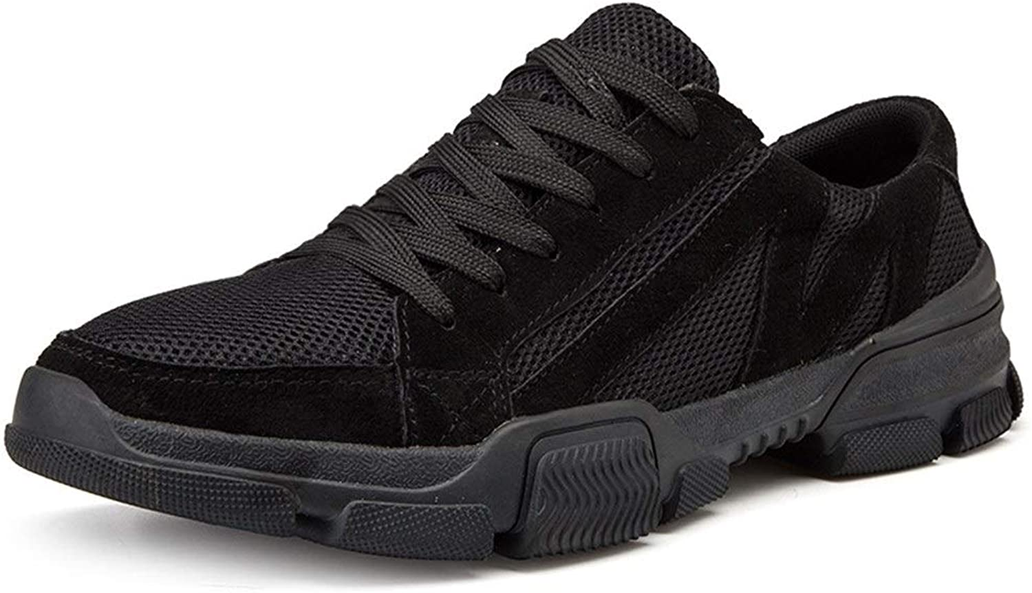 Athletic shoes for Men Sports shoes Lace Up shoes Mesh Material Light and Flexible shoes (color   Black, Size   7 UK)
