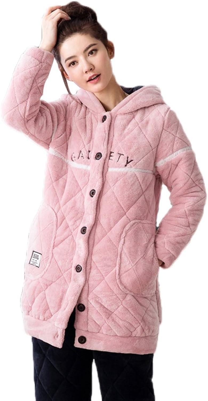 Mingxintech Womens Long Flannel Pajama Set Pink Thick Warm Home Sleep Wear