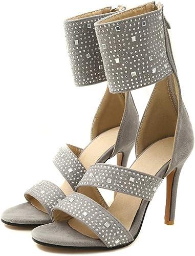 femmeschaussures Chaussures Femmes, Super Haut Talon Sling Dos Fermeture éclair Confortable Sandales Stiletto Femmes,B,45