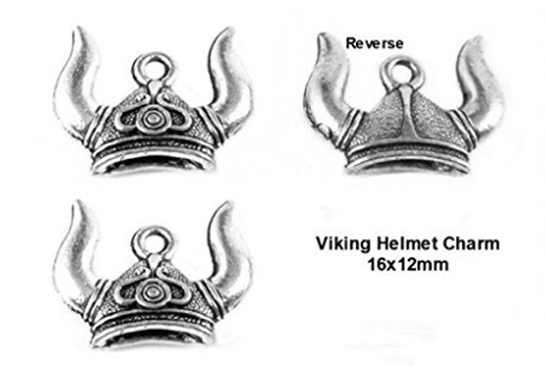 PlanetZia 6pcs 2 Sided Viking Helmet Charms for Jewelry Making TVT-2610-1 (Antique Silver)