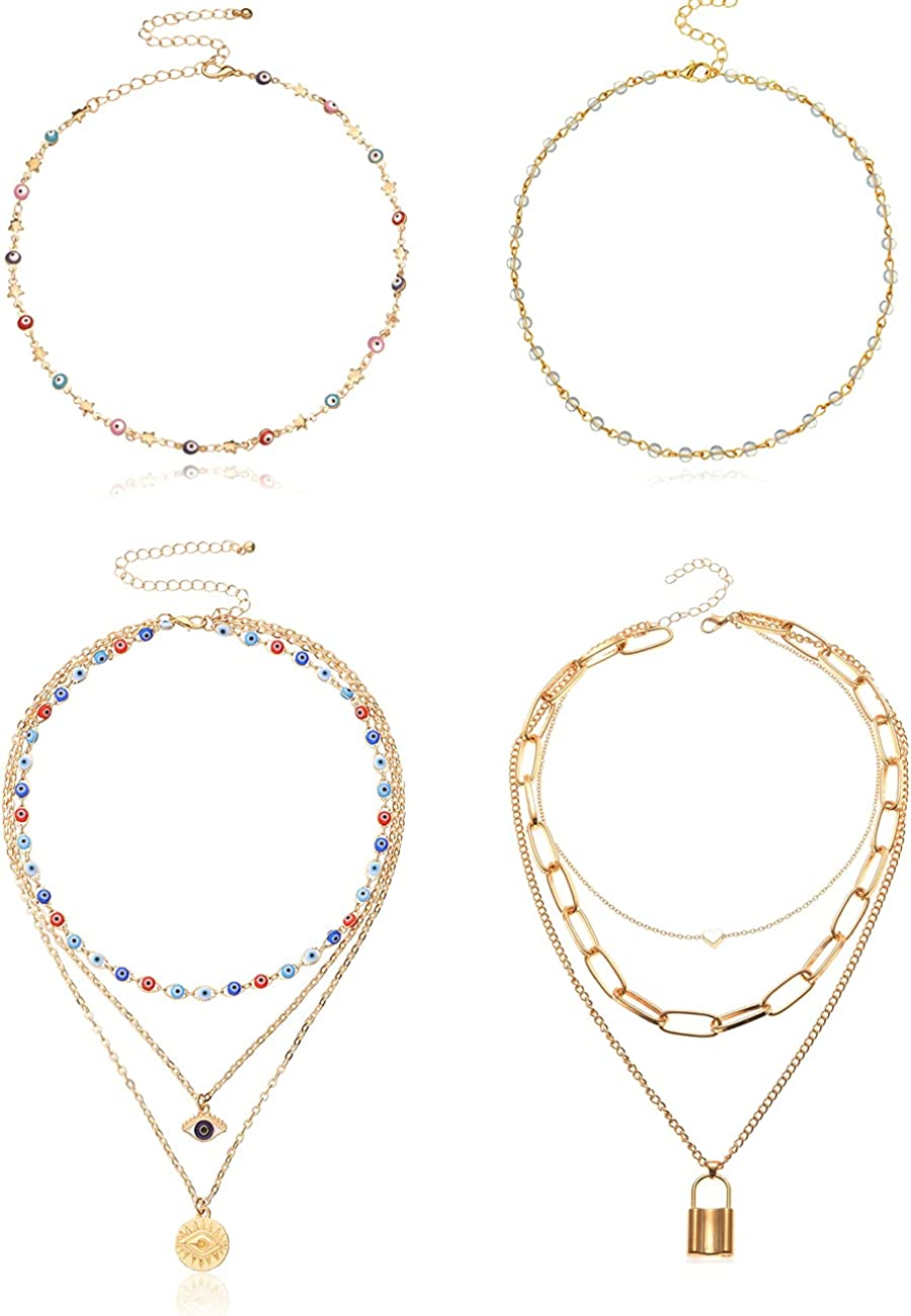 COLOYAN 4PCS 14K Gold Plated Layered Necklace for Women Girls Evil Eye Protection Necklace Lucky Dainty Layered Choker Necklace Boho Necklace Y2k