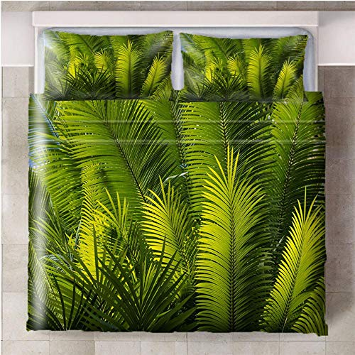 CURTAINSCSR Duvet Cover Green Leaves Single Size Printed Polyester Bedding Set Quilt Cover with Zipper Closure+2 Pillowcases Easy Care Anti-Allergic Soft & Smooth Apply to Boy Girl Bedroom