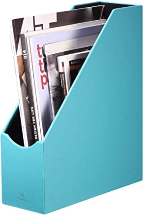 Vlando VPACK Magazine File Organizer Holder - Office PU Leather Desk Organizer Collection, Assorted Color (Peacock Blue)