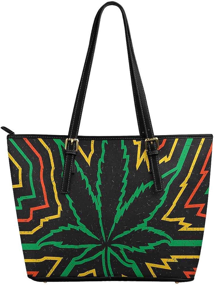 INTERESTPRINT Black Cannabis Leaf Women Totes Top Handle HandBags PU Leather Purse
