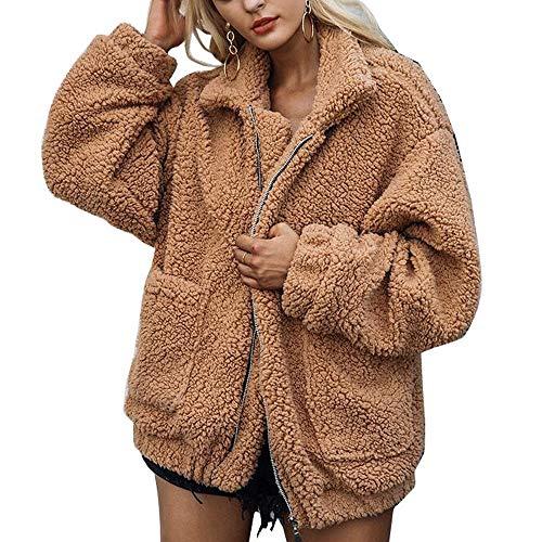 Romanstii Winterjacke Mantel Damen Winter Warme Woll Cardigan Knit Navy Wintermantel Blau Outwear Jacke Coat Winter Lady Jacket Wolle Faux Pelz Outwear M 2- Kamel