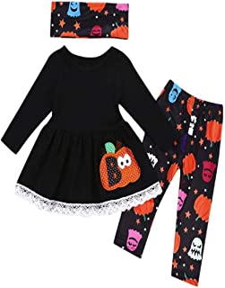 Halloween Toddler Baby Girls Pattren Printing Tops Pants Scarves Clothes Outfits Set