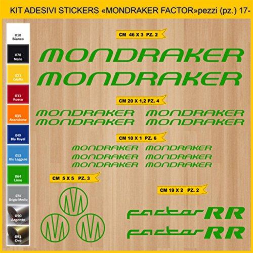 Pimastickerslab Aufkleber Fahrrad MONDRAKER FACTOR RR_ KIT2 Kit Aufkleber Stickers 17 Stück – bici Bike Cycle wählbar Cod.0882 (064 VERDE LIME)