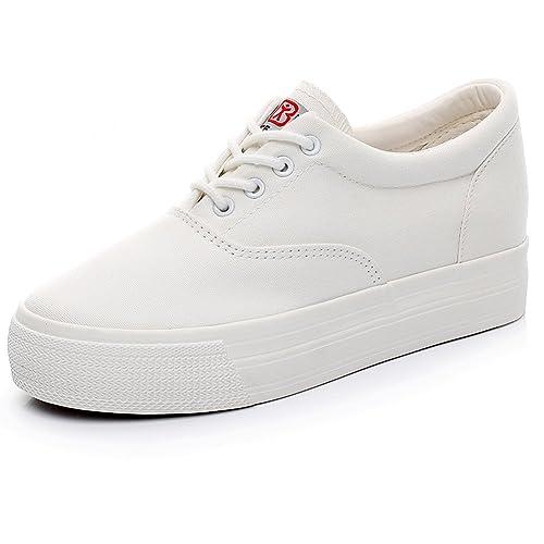be2a35a610724d Renben Girls Women Low Wedge Heel Canvas Sneakers Comfort Platform  Espadrilles