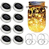 fairy jar lights - SunKite Solar Mason Jar Lights, 8 Pack 20 LED Waterproof Fairy Firefly Jar Lids String Lights with Hangers(NO Jars), Patio Yard Garden Wedding Decoration - Warm White
