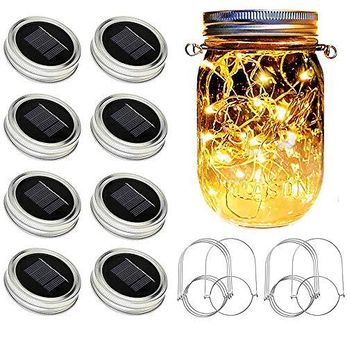 Solar Mason Jar Lights [Updated], 8 Pack 20 LED Waterproof Fairy Firefly Jar Lids String Lights with Hangers(NO Jars), Patio Yard Garden Wedding Decoration - Warm White