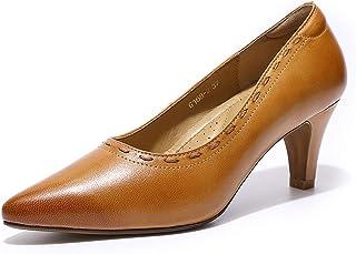 Women's Leather Pumps Dress Shoes High Heels Med Heel...