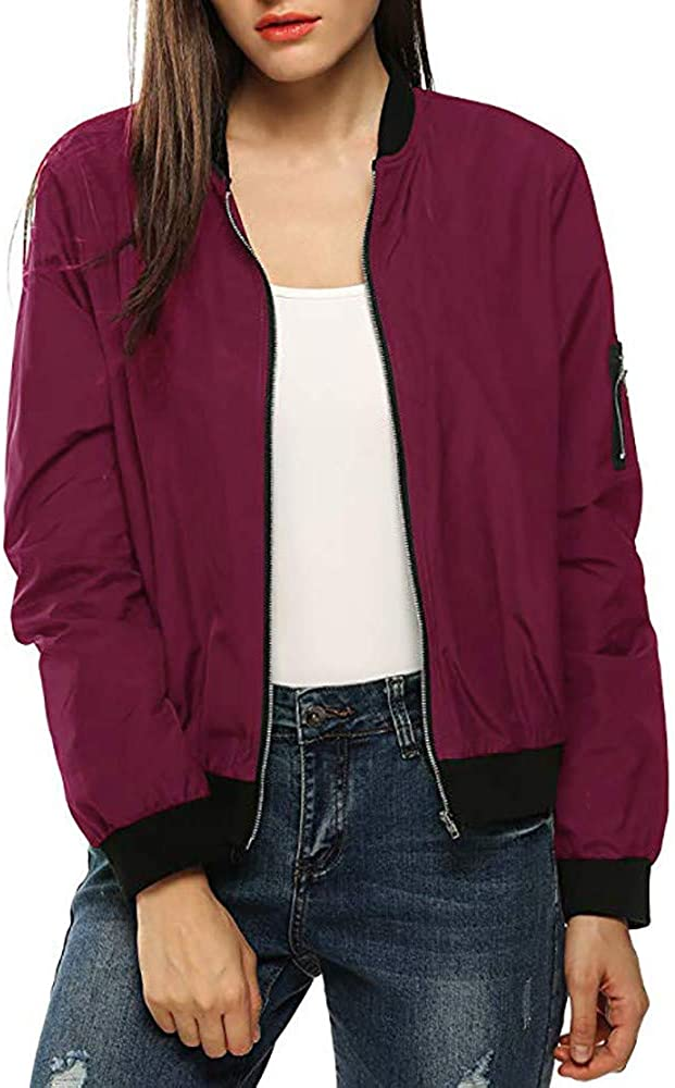 NRUTUP Womens Classic Quilted Short Bomber Zip Fashion Casual Jacket Coat Tops Blouse Overcoat Outwear Top Blouse