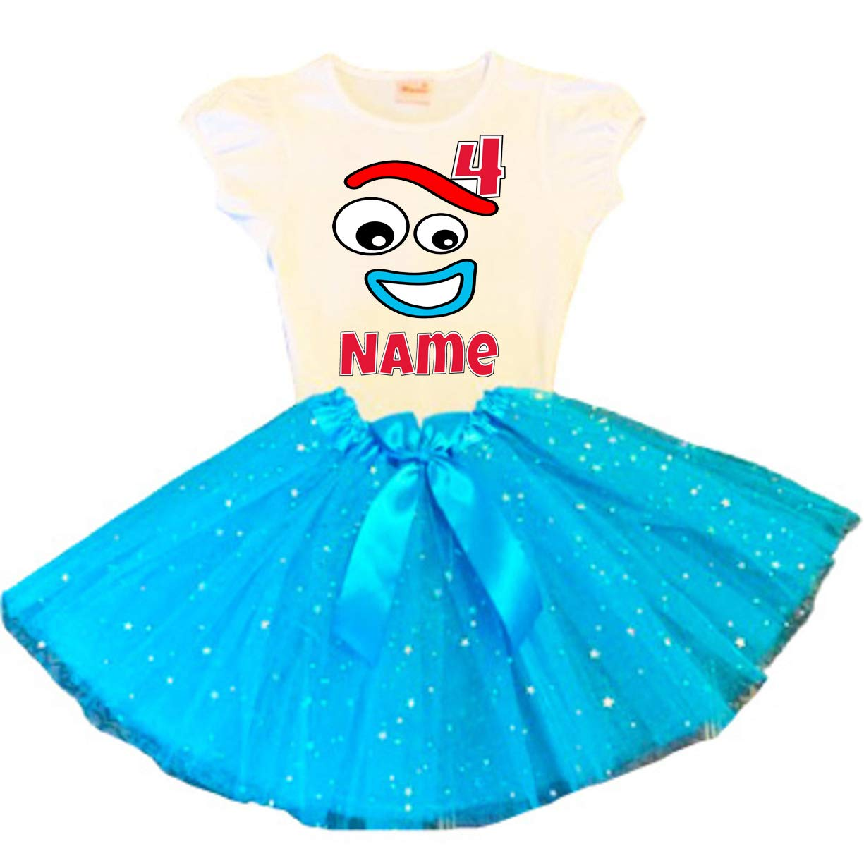 Forky Birthday Tutu 4th Turquoise Max 76% OFF Party Dress Outf Recommendation