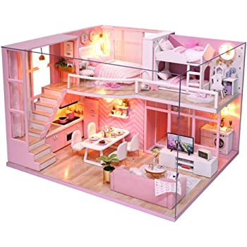 CUTEBEE Dollhouse Miniature with Furniture, DIY Dollhouse Kit Plus Dust Proof and Music Movement, 1:24 Scale Creative Room Idea (Dream Angels)