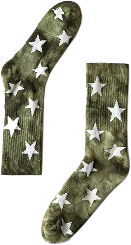 LIUS Star Tie-Dye Cotton Crew Socks Winter Warm Terry Basketball Skateboard Hosiery